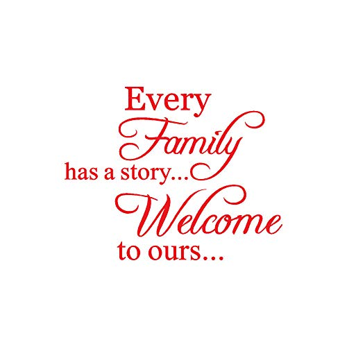 AckfulEvery Family Has A Story Welcome Toours Removable Art Vinyl Mural Home Room Decor Wall Stickers (Red)