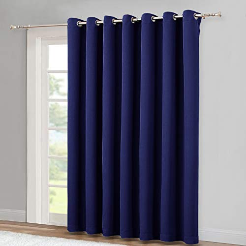 NICETOWN Blackout Wide Sliding Door Curtains - Insulated Noise Reduction Drapes, Privacy Vertical Blind for Living Room & Bedroom (Royal Blue, W100 x L95 inches) (Word For Drape Another)