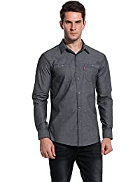 HOTOUCH Men's Business Casual Shitrs Charcoal XXXL