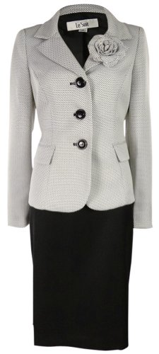 Le Suit Women's Water Lilies Woven Skirt Suit (6, White/Black) by Le Suit