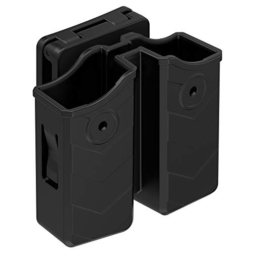 (Universal Double Magazine Pouch, 9mm .40 Mag. Holder Dual Stack Mag Holster with 1.5''-2'' Belt Clip Fit Glock Sig sauer S&W Beretta Browning Taurus H&K Most Pistol Mags )