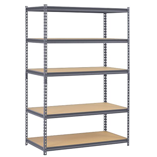 Edsal UR245P-GY Gray Steel Industrial Shelving, 5 Adjustable Shelves, 4000 lb. Capacity, 72
