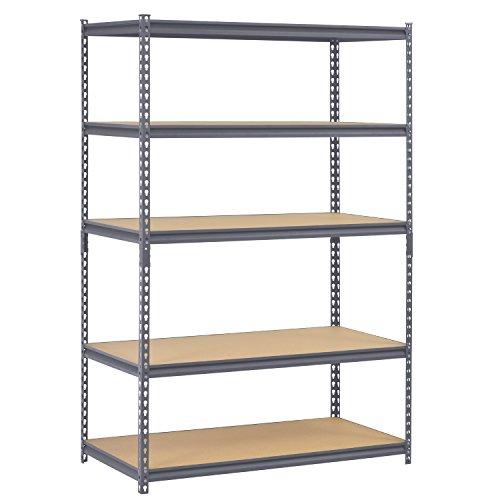 Edsal UR245P-GY Gray Steel Industrial Shelving, 5 Adjustable Shelves, 4000 lb. Capacity, 72'' Height x 48'' Width x 24'' Depth by EDSAL