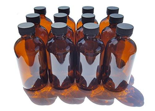 Amber Glass Bottle 4oz w/Lid (12 Pcs)