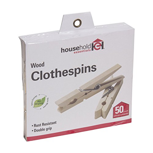 Household Essentials Classic Birchwood Clothespins, Bag of (Whitney Design Clothesline)