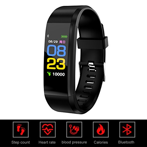 Dosmix Fitness Tracker HR, Waterproof Activity Smart Watch with Heart Rate/Blood Pressure Monitoring, Step,Calories, Distance, Call Reminding, Color Screen for Android/ISO Devices