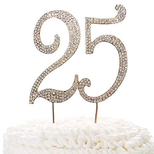 25 Gold Cake Topper | Premium Sparkly Crystal Rhinestones | 25th Birthday or Anniversary Party Decoration Ideas | Quality Metal Alloy | Perfect Keepsake -