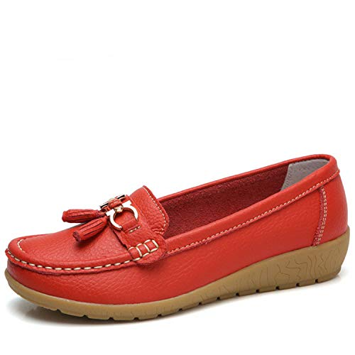 Shoes Woman Genuine Leather Women Flats Slip On Women's Loafers Female Moccasins Shoe Plus Si Red