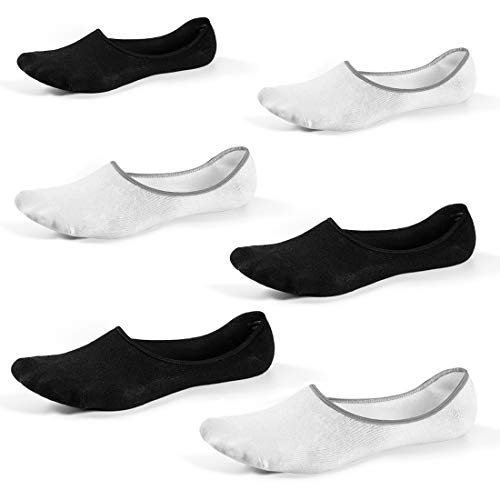 No Show Loafer Socks Men - Low Cut Non Slip Grip Footies Invisible Liner Casual Socks for Boat Shoes 6 Pairs (Black3 Pairs, White3 Pairs,Shoe size 6-9 (S/M)) from Free Yoka