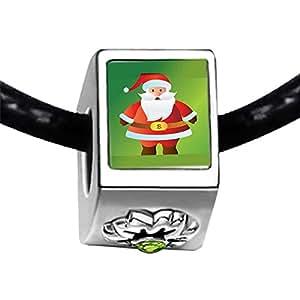 Chicforest Silver Plated Kind Christmas Santa Photo Peridot Crystal August Birthstone Flower Charm Beads Fits Pandora Bracelet