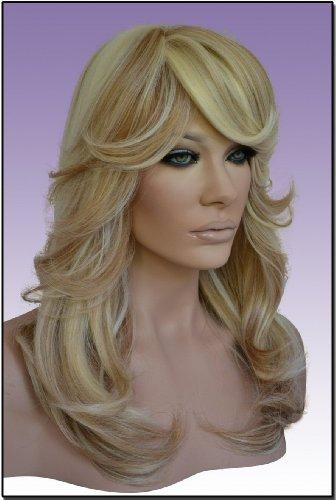 [Hollywood_Hair4u - Long Blonde Mix Curly Layered Synthetic Kanekalon Wig with Bangs and Skin Top] (Farrah Fawcett Wig)