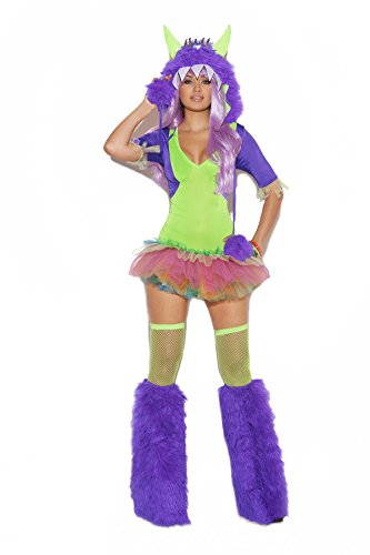 [Sexy Women's One Eyed Monster Furry Hood Tutu Dress Costume, Medium, Neon Green] (Sexy Monster Halloween Costumes)