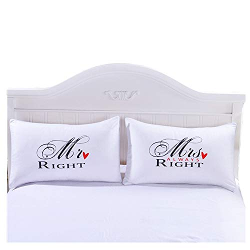 CheeseandU Mr.Right & Mrs.Always Right Couples Pillowcase Set, Romantic Gift Idea for Couples, Valentines Day, Anniversary, Wedding, Engagement, for Him and Her in Love, White&Black(2919iInch) -