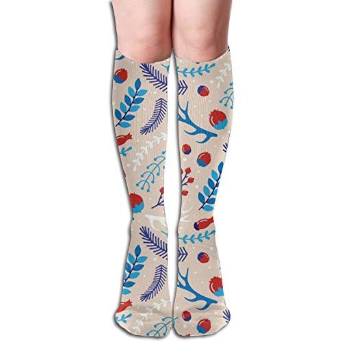 Christmas Pine Nuts Retro Knee High Socks Long Sock Stockings For Women,Man,Training