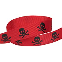 HipGirl Halloween Grosgrain or Satin Fabric Ribbon for Holiday Pirate Party Decoration, Hair Bow Accessory, Scrapbook, Match Your Costumes-- 5 Yard 7/8 Inch Skull Cross Bone, Red/Black
