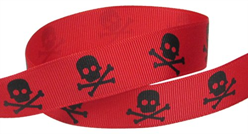HipGirl Halloween Grosgrain or Satin Fabric Ribbon for Holiday Pirate Party Decoration, Hair Bow Accessory, Scrapbook, Match Your Costumes-- 5 Yard 7/8 Inch Skull Cross Bone, (Bone Sheer)