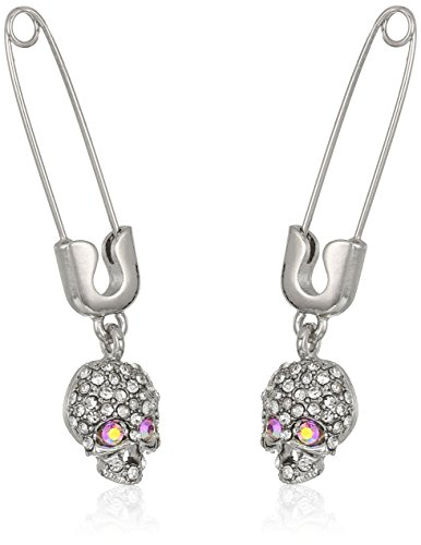 Betsey Johnson Women's Safety Pin with Skull Drop Earrings, Pink (Dangling Safety Pin)
