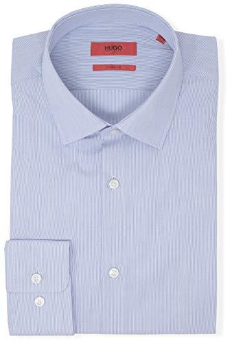Hugo Boss Men's Mabel Sharp Fit Stripe Dress Shirt (17 34/35, Blue)