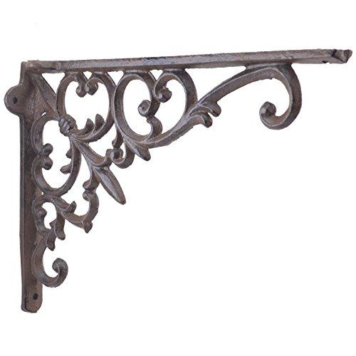 Import Wholesales Cast Iron Wall Shelf Bracket Fleur De Lis & Vine Rust Brown 9.5