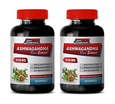 Brain Support Supplement Improve Memory Focus and Brain Function - ASHWAGANDHA Root Extract - Premium Dietary Supplements - ashwagandha Extract Anxiety - 2 Bottles 240 Capsules