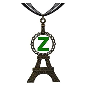 Chicforest Bronze Retro Style Green Letter Z Eiffel Pendant