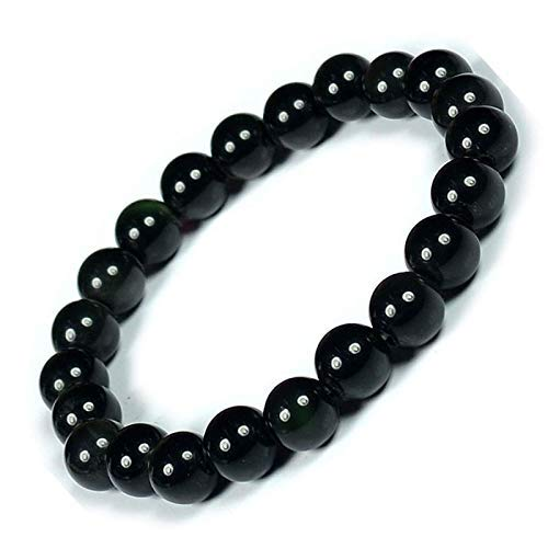 - Ultimate Protection Bracelet - Handmade Natural Black Obsidian Bracelet - Gemstone 8mm Round Beads Natural Stone Yoga Bracelet - Stone Beaded Stretch Bracelet