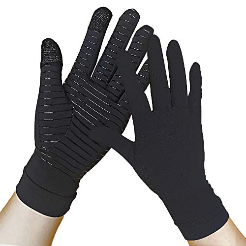 Copper Gloves - Compression Gloves Full Finger - Touch Screen - Relieve Arthritis, Rheumatoid, RSI, Carpal Tunnel, tendonitis Pain for Women and Men (Pair) (M)