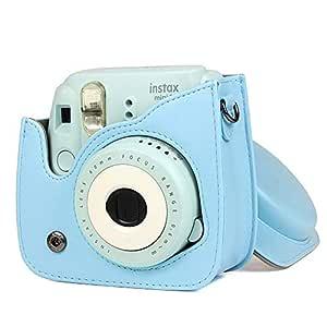 Awhao Camera Bag for Fuji Fujifilm Instax/Mini 9/ Mini 8 PU Leather Camera Bag with Shoulder Strap Blue