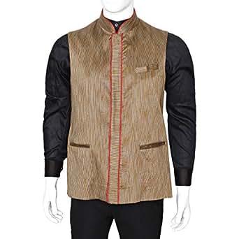 Libas Riyaz Gangji Brown Linen Vest For Men