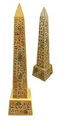 "Egyptian Sand Desert Obelisk Temple of Ra With Hieroglyphs 8"" Tall Figurine"