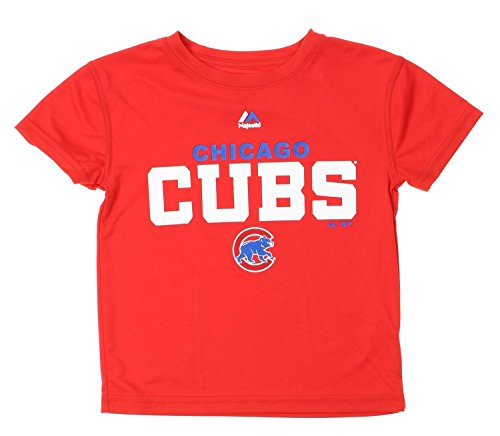 (Majestic MLB Chicago Cubs Little Boys Kids Roll Call Performance Shirt, Red (Medium (5.)