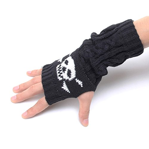 Flammi Skull Jacquard Cable Knit Fingerless Gloves Thumb Hole Gloves Mittens Arm Warmers for Women & Men (Black) - Skull Gloves