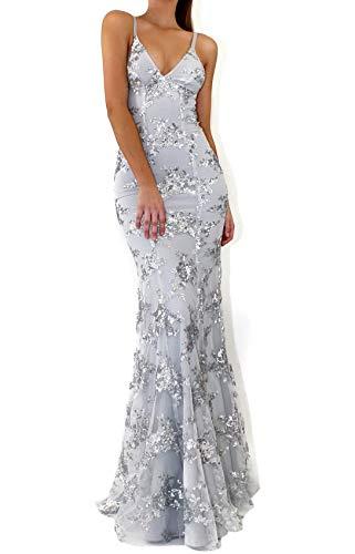 Clothink Deep V Neck Open Back Lace Up Sequin Maxi Dress Wedding Party