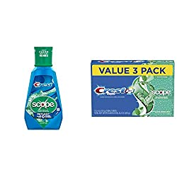 Crest Scope Outlast Mouthwash Long Lasting Peppermint with Crest Complete Whitening + Scope Toothpaste, Minty Fresh, 5.4 Ounce Triple Pack