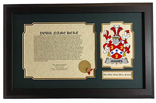 - Hughes - Coat of Arms and Last Name History, 14x22 Inches Matted and Framed