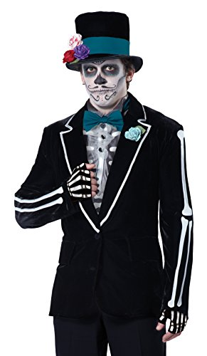 Dead Gangster Halloween Costumes (California Costumes Men's El Novio Muerto, Black/Turquoise,)