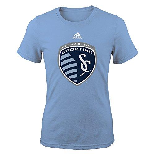 "MLS Kansas City Sporting ""Team Logo"" Girls Shirt, Small, Smoke Blue"