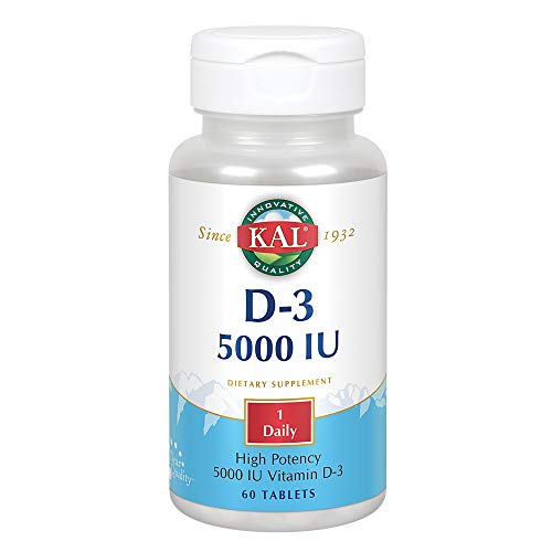KAL Vitamin D-3 5000 IU | High Potency | Rapid Disintegration | Healthy Immune Function & Bone Support | 60 Tablets