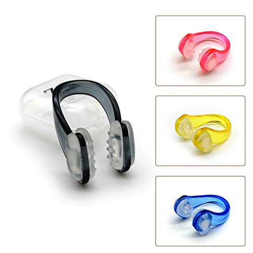 Zooshine Set of 4 Waterproof Anti-Slip Swimming Nose Clips Nose Plugs for Swimming Swimming Nose Clips for Adults Kids (Best Swimming Nose Clip)