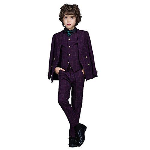 Yanlu Boys Suits Plaid Formal Kids Suit with Blazer Vest and Pants Size 3T Purple