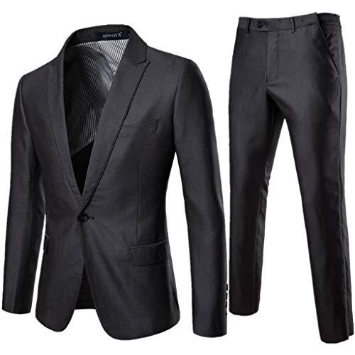 Suit Jacket for Men Stylish,MILIMIEYIK Slim Fit 2 Piece Suit for Men One Button Casual/Formal/Wedding Tuxedo Business Blazer Gray ()