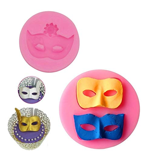 Mity Rain Mask Cake Fondant Mold, Mask Chocolate Silicone Molds for Cake Decorating Sugarcraft Candy Molds Polymer Clay Molds Cupcake Topper Decoration- Set of 2 ()