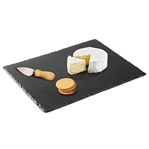 mDesign Slate Stone Gourmet Serving Platter, Cheese Board, Charcuterie Tray with Natural Edge for Cheese, Meats, Appetizers, Dried Fruits - Display Chalkboard - Black