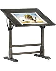 "Vintage Solid Wood Drawing, Drafting Table with 36"" Adjustable Tilting Top, Distressed Black"