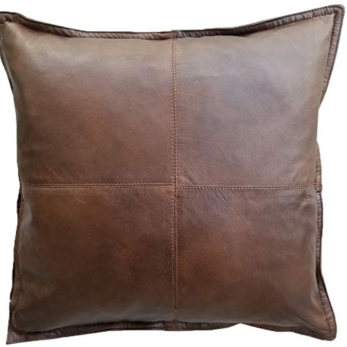 Mack&G's 4 Panel Genuine Lambskin Leather Throw Pillow Cover - Handcrafted Top Grade Leather and Satin with Artisan Quality (16