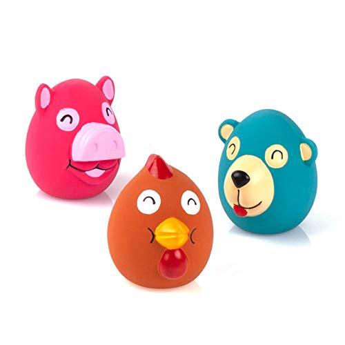Chiwava - Juego de 3 juguetes de latex para perros pequenos de 2 6 pulgadas, diseno de animales