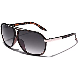 Classic 80s Fashion Aviator Sunglasses Retro Vintage Men's Women's Glasses (Tortoise | Gradient Smoke)