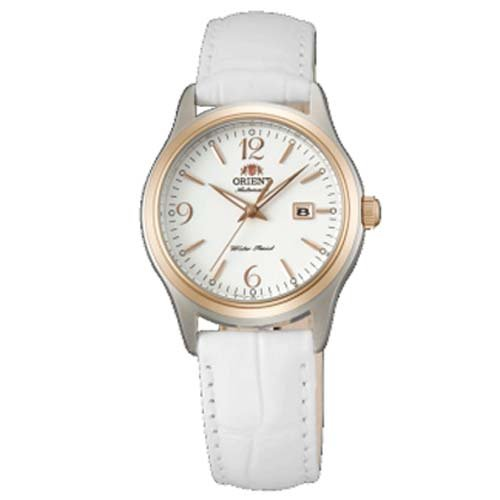 Orient NR1Q003W Women's Charlene Automatic TT Rose Gold Plated White Leather Strap Watch