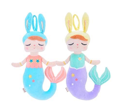 MeToo Mermaid Plush Toys ,Mermaid Stuffed Animal Doll ,Angela Plush Rabbit Gift Dolls 15 Inch (2 pack blue+purple)