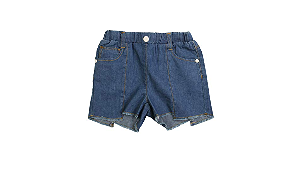 LookbookStore Girls Denim Shorts Cuffed Hem High Waisted Belted Jean Shorts 4-13 Years